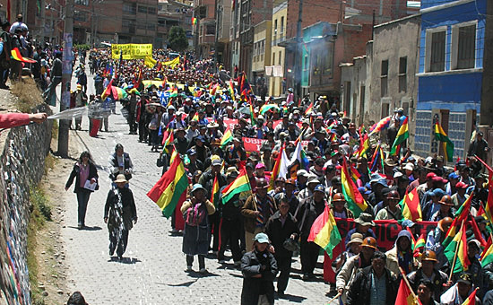Demonstration indigener Organisationen in Bolivien (Foto: Quetzal-Redaktion, NJ)