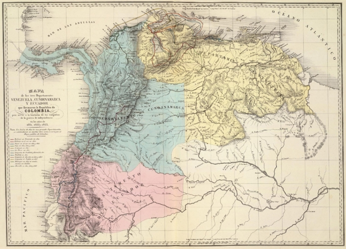 Karte von Venezuela, Neugranada und Quito 1821, Agustin Codazzi - Quelle: David Rumsey Historical Map Collection