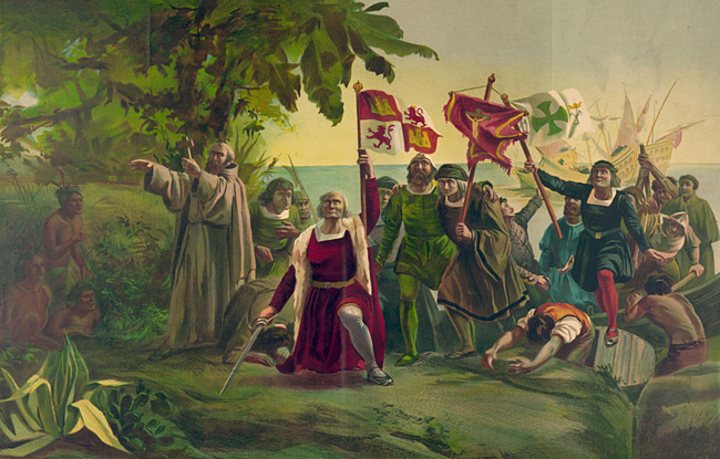 Christoph Columbus: Landung in San Salvador - Foto: Public Domain